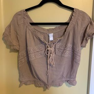 Tops - Tan peasant off the shoulder crop top